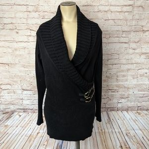 Cache Shawl Collar Crossover Top Buckle Sweater